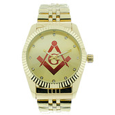 Masonic Watch - Red Lodge Masonic Logo Compass & Square - Gold Color Steel Band - Full Gold Face Dial Freemason Symbol Watch