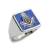 Blue Lodge - Freemasons Square and Compass Ring - Steel Masonic Emblem Blue Square Background