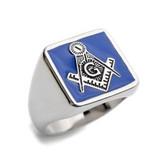 Blue Lodge - Freemasons Square and Compass Ring - Steel Masonic Emblem Blue Square Background