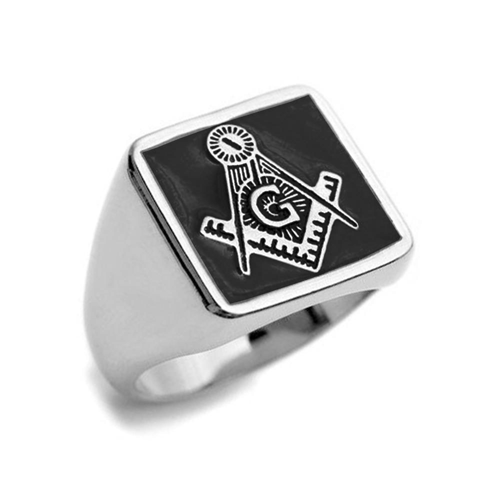 e56090ae6ddbc ... Compass Ring - Steel Masonic Emblem Black Square Background. Image 1