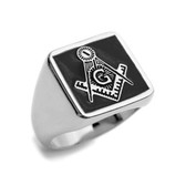 Black Lodge - Freemasons Square and Compass Ring - Steel Masonic Emblem Black Square Background