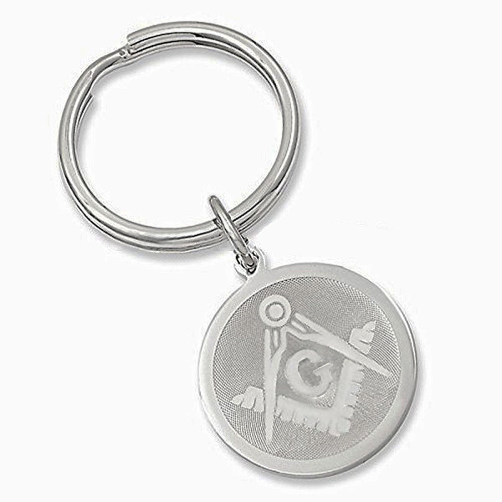 Masonic Keychain (Silver Color) with etched Compass and Square ... 2f58fed71