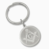 Masonic Keychain (Silver Color) with etched Compass and Square symbol. Gift for Freemasons.