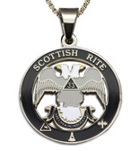 Scottish Rite 33rd Degree - Silver Color Stainless Steel Masonic Freemason Pendant Medal Charm. Double Headed Eagles. Includes Necklace