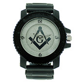 Masonic Watch - Black Silicone Band - Free Masons Numerical White Face Silver Tone Dial Watch