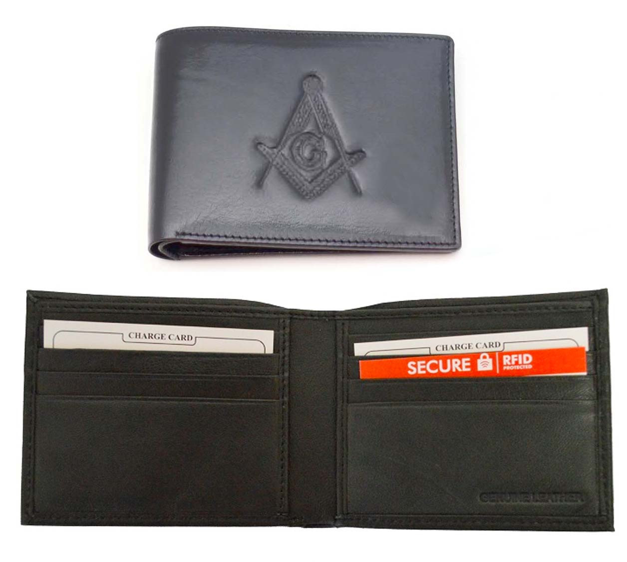 d477038b4cd7 ... Black Leather Wallet with Large Centered Masonic Compass and Square.  Multiple pockets and ID compartments - wallet for Freemasons. Image 1