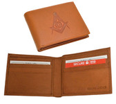 One (1) Masonic Tan Leather Wallet with Large Centered Masonic Compass and Square. Multiple pockets and ID compartments - wallet for Freemasons