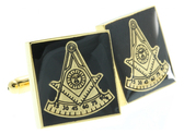 Square Shaped Masonic Cuff links - Black and Gold Color with Past Master Freemasons Symbol. Masonic Regalia Merchandise for the Lodge