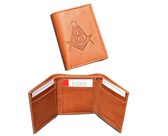 One (1) Masonic Tan Tri-Fold Leather Wallet with Large Masonic Compass and Square. Multiple pockets and ID compartments - wallet for Freemasons