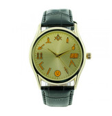 Working Tools - Masonic Watch - Black Leather Band - Round Gold Face Dial Watch with Artistic Freemasonry Symbolism