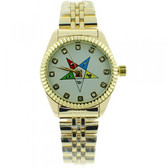 Order of the Eastern Star Watch - OES Symbol on Gold Color Steel Band - White Face CZ Dial
