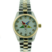 Order of the Eastern Star Watch - OES Symbol on Duo Tone Silver and Gold Color Steel Band - White Face CZ Dial