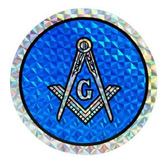 masonic car decal bumper Blue Round Masonic Car Window Sticker Decal - Masonic Car Emblem with blue and white Compass and Square logo.
