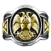 double headed eagle 32 degree masonic rings - Scottish Rite Freemason Ring / Duo Tone Masonic Ring- 32 Degree Scottish Rite Masonic Symbol Logo with Silver Tone Band