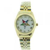Order of the Eastern Star Masons Watch - OES Symbol on Gold Color Steel Band - White Face Dial Roman Numerals