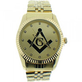 Masonic Watch - Black Masonic Logo Compass & Square - Gold Color Steel Band - Full Gold Face Dial Freemason Symbol Watch