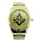 Masonic Watch - Dark Masonic Logo Compass & Square - Gold Color Steel Band - Full Gold Face Dial Freemason Symbol Watch
