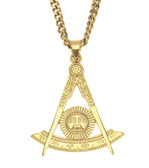 Freemason Past Master Pendant - Gold Plated Stainless Steel with Etched Masonic Symbol