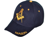 Dark Blue / Navy Masonic Baseball Cap - Golden Masonic Order Symbol, brim Mason text & adjustable strap on back of hat. Masonic Clothing, Apparel and Merchandise