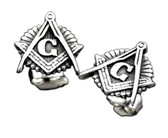 Masonic Stud Earrings (Stainless Steel) with Masonic Symbol / Free Mason (one pair)