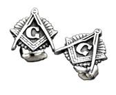 Masonic Stud Earrings (Stainless Steel) with Masonic Symbol / Free Mason (one pair)