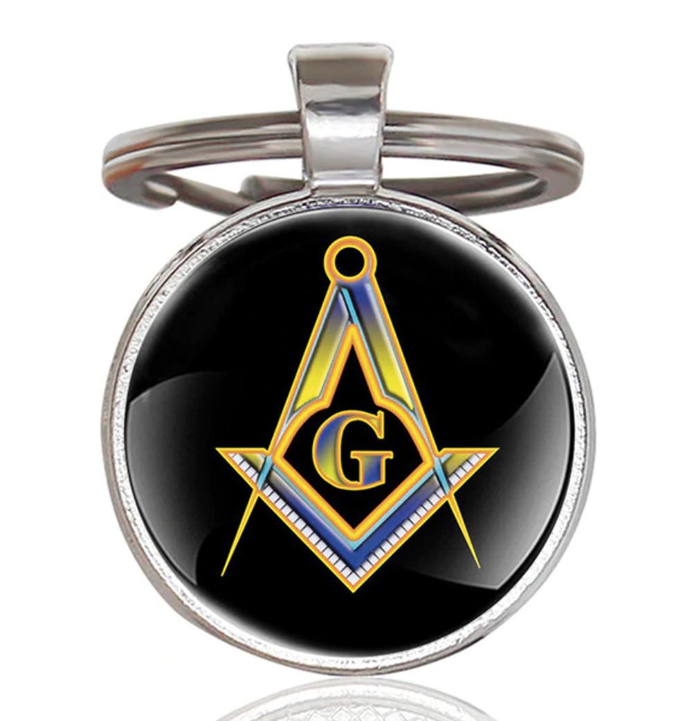 Masonic Keychain - Black and Bright Center Compass and Square Logo Design  w/ Glass Cabochon