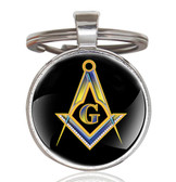Masonic Keychain - Black and Bright Center Compass and Square Logo Design w/ Glass Cabochon