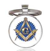 Masonic Keychain - Gold Compass with Blue Seal Freemason Blue Lodge Design w/ Glass Cabochon