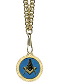 Blue Lodge Masonic Compass and Square Round Gold Color Rimmed Classic Style Pendant with Blue Lodge Symbolism - Includes Chain Necklace
