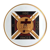 Freemasons Car Emblem / Knights of Templar Cross - In Hoc Signo Vinces symbol with White background. Masonic Car Bumper Decal.