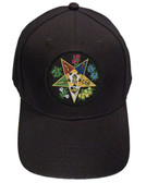 Order of the Eastern Star OES - Black Baseball Cap with Round Colorful Standard OES Symbol - Hat One Size Fits Most Adults