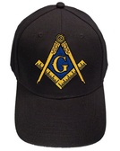 Freemason's Baseball Cap - Black Hat with Black and Gold and Blue Standard Masonic Symbol - One Size Fits Most Adults. Masonic Gifts