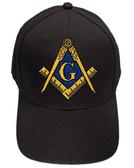 Freemason's Baseball Cap - Black Hat with Black and Gold and Blue Standard Masonic Symbol - One Size Fits Most Adults. Masonic Gifts
