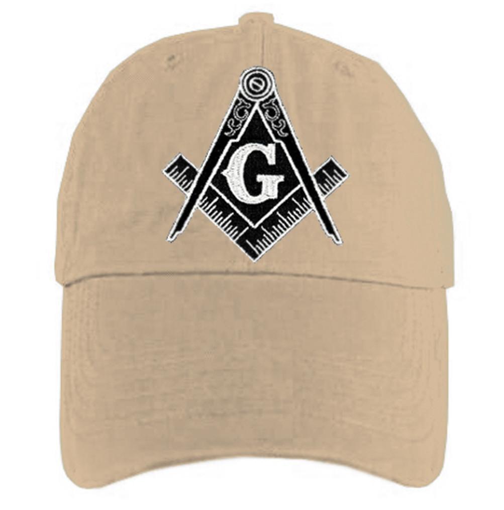 8754824c31 Freemason's Baseball Cap - Tan Hat with Black and White Standard Masonic  Symbol - One Size Fits Most Adults. Masonic Gifts. Image 1