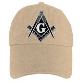 Freemason's Baseball Cap - Tan Hat with Black and White Standard Masonic Symbol - One Size Fits Most Adults. Masonic Gifts