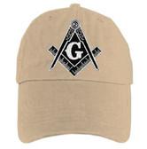 Freemason's Baseball Cap - Tan Hat with Black and White Standard Masonic Symbol - One Size Fits Most Adults. Masonic Gifts