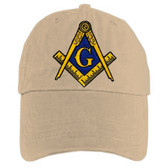 Freemason's Baseball Cap -Tan Hat with Black and Gold and Blue Standard Masonic Symbol - One Size Fits Most Adults. Masonic Gifts