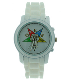 Order of the Eastern Star Watch - White Silicone Band - Colorful OES Symbol - White Sleek Face Dial Watch
