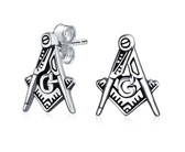 Masonic Stud Earrings (Stainless Steel) with Classic Cut-Out Style Masonic Symbol / Free Mason (one pair)
