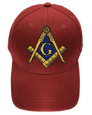 Freemason's Baseball Cap - Red Hat with Black and Gold and Blue Standard Masonic Symbol - One Size Fits Most Adults. Masonic Gifts