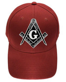 Freemason's Baseball Cap - Red Hat with Black and White Standard Masonic Symbol - One Size Fits Most Adults. Masonic Gifts