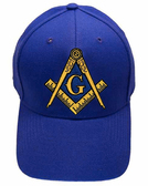 Freemason's Baseball Cap - Blue Hat with Black and Gold and Blue Standard Masonic Symbol - One Size Fits Most Adults. Masonic Gifts