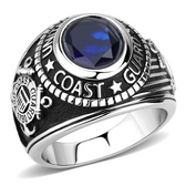 Coast Guard Rings - US Military Ring (Stainless Steel with Blue Stone). United States veterans, soldiers etc.
