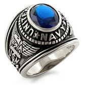 USN - Navy Military Ring (Stainless Steel with Blue Stone). U.S. Navy Rings