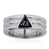 Scottish Rite Rings / Masonic Rings - Scottish Rite 33rd Degree Grooved Band (Steel) for Freemasons