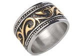 Tribal Ring - Gold & Silver Stainless Steel (14.5mm) w/ 14k Gold Design
