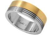 Men's wedding bands Stainless Steel Ring w/ 14K Gold IP Top Section - Marriage Wedding Band Ring.