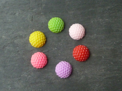 Dot-Textured Round Cabochons 10-11mm
