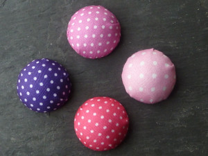 Polka Dot Fabric Cabochons 25-26mm