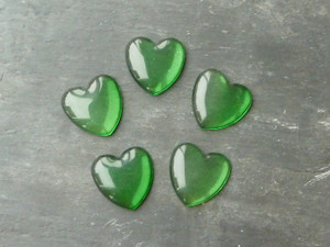 Green Glass Heart Cabochons 25mm